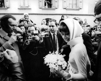 T,V, and Films, 21st January 1968, Switzerland, A picture of legendary Belgian born American actress Audrey Hepburn at her marriage to Andrea Dotti, her second husband (Photo by Paul Popper/Popperfoto/Getty Images)